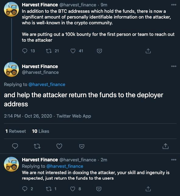 Harvest Finance đã tìm ra bằng chứng người đứng sau vụ hack