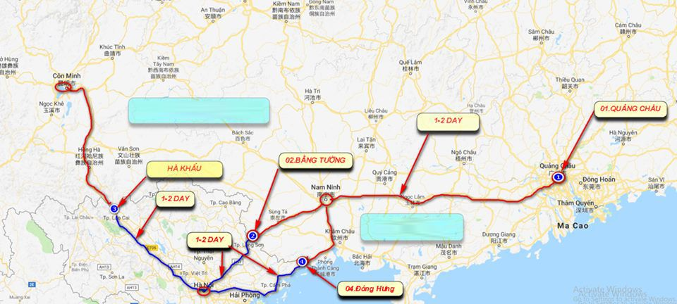 Các kho / tuyến vận chuyển hàng Trung - Việt