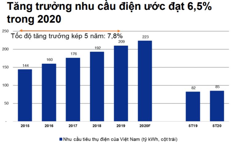 Tăng trưởng nhu cầu điện ước đạt 6,5% trong 2020