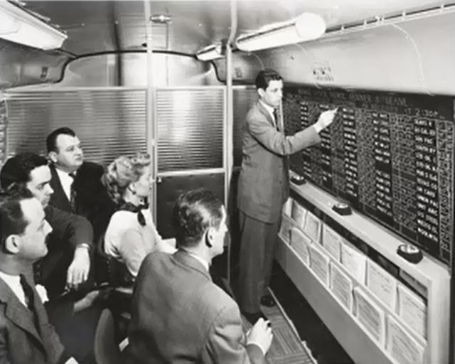 Minh họa hoạt động ghi giá cổ phiếu lên bảng đen