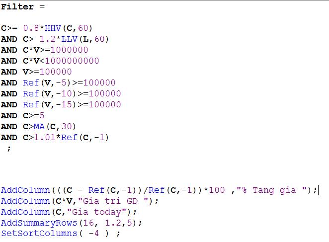 Code Filter mẫu