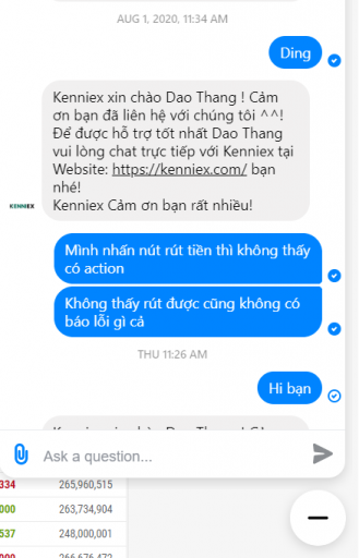 Kenniex scam lừa đảo - Chat với bên Kenniex không thấy ai trả lời