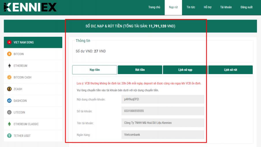 Sàn Kenniex scam lừa đảo -  Thông tin tài khoản