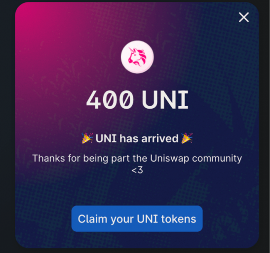 Claim UNI tokens