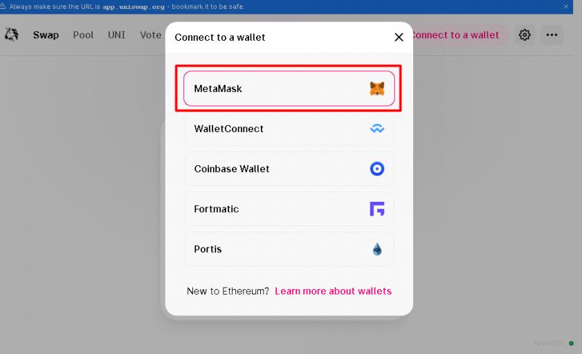Chọn Ví MetaMask để kết nối đến