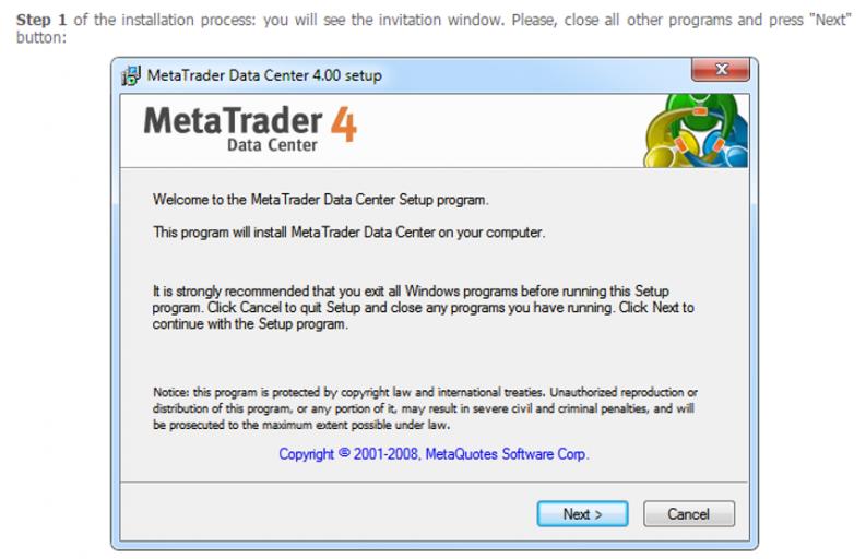 Cài đặt MetaTrade 4 - Step 1