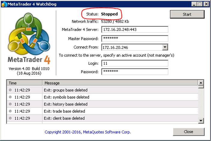 Stop watchdog và kiểm tra trạng thái server backup