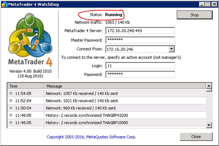 Bật Watchdog và kiểm tra trạng thái running trên backup server